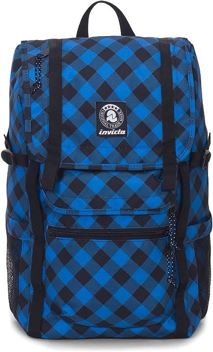 Carlson zaino invicta - triko - blu e nero - tasca porta pc padded - 27 lt - plaid check unisex - adulto B08WJMMKC8