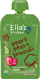 Ella's Kitchen Organic 4+ Months Baby Food, Pears Peas and Broccoli, 3.5 oz. Pouch (Pack of 12)