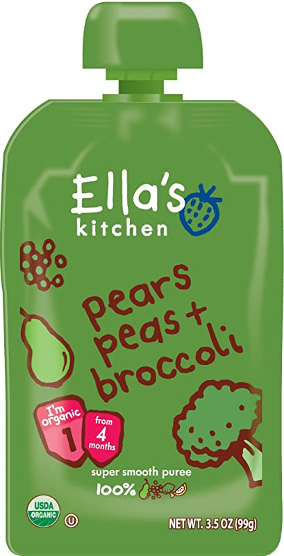 Ella S Kitchen Organic Stage 1 Pears Peas Broccoli 3 5 Ounce Pack Of 12
