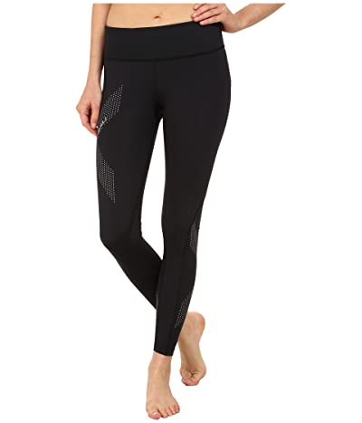 2XU Mid-Rise Compression Tights (Black/Dotted Reflective Logo) Women