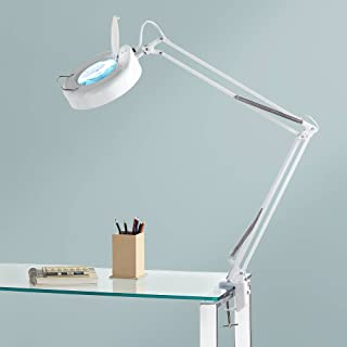 Modern Desk Table Lamp White Clamp On Adjustable Magnifying for Bedroom Bedside Office Craft Sewing - 360 Lighting