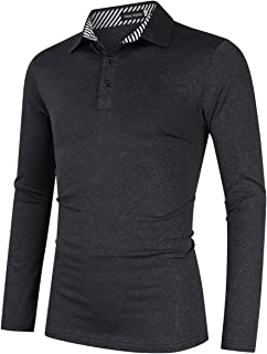 Men's Casual Dry Fit Golf Polo Shirts Athletic Long Sleeve T Shirt