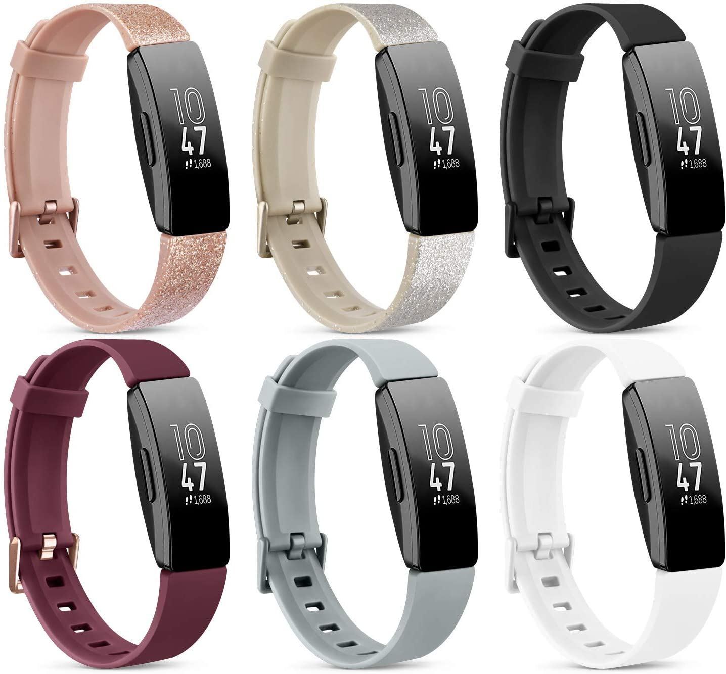 [6 Pack] Silicone Bands Compatible with Fitbit Inspire HR & Fitbit Inspire 2 & Fitbit Inspire & Ace 2 Bands for Women Men (Small, Shine Rosegold/Shine Gold/Wine Red/Black/Gray/White)