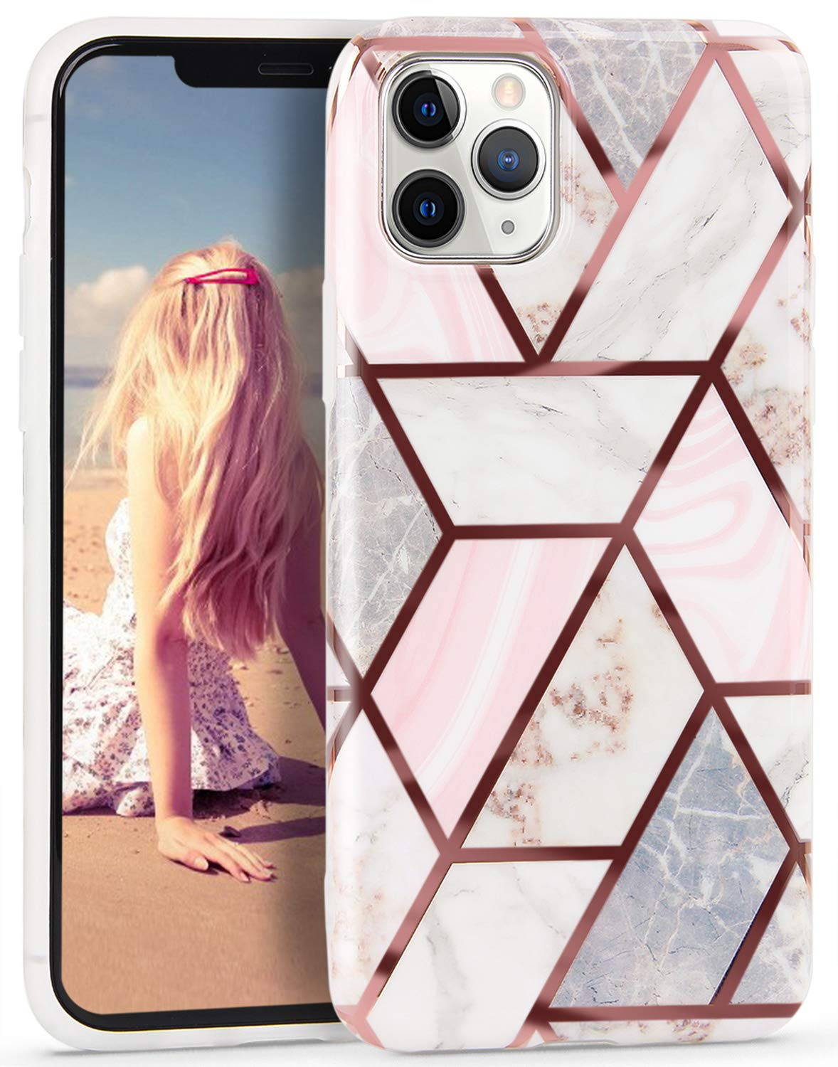 Imikoko Iphone 11 Pro Case Glitter Sparkle Marble Rose Gold Splice Design Stylish Shiny Clear Bumper Case Glossy Tpu Soft Rubber Silicone Cover For Iphone 11pro 5 8 Inch Pink White Splice