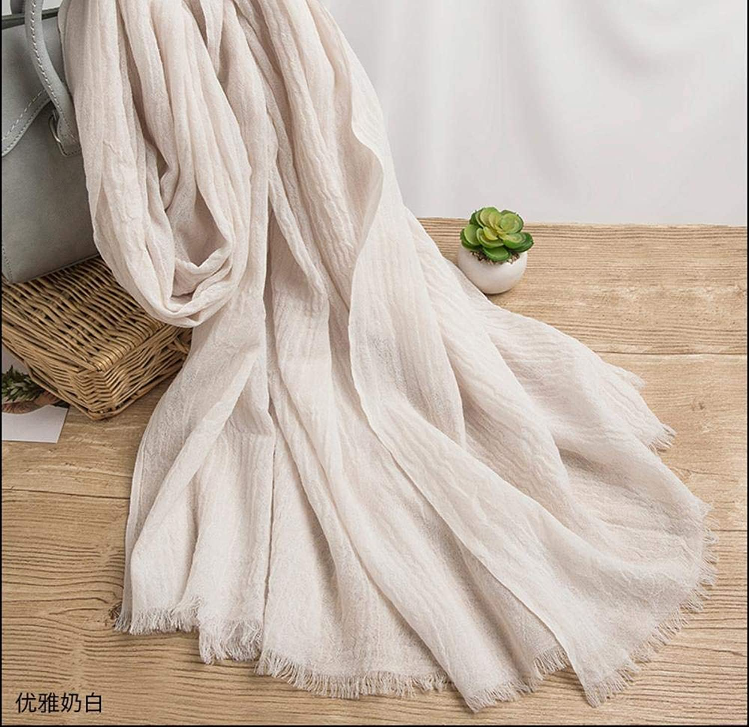 Gquan Fashion Scarf Fashion Spring Summer Ladies Pleated Mercerized Wool Warm air Conditioning Shawl Scarf