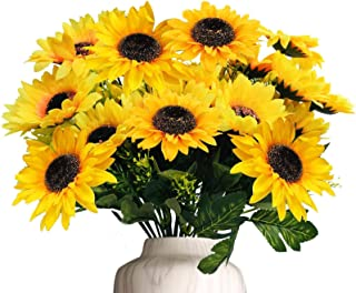 TURNMEON Artificial Sunflowers Bouquet Decor, 4 Bunches Silk Fake Sun Flower Faux Floral Arrangement Artificial Plants for...