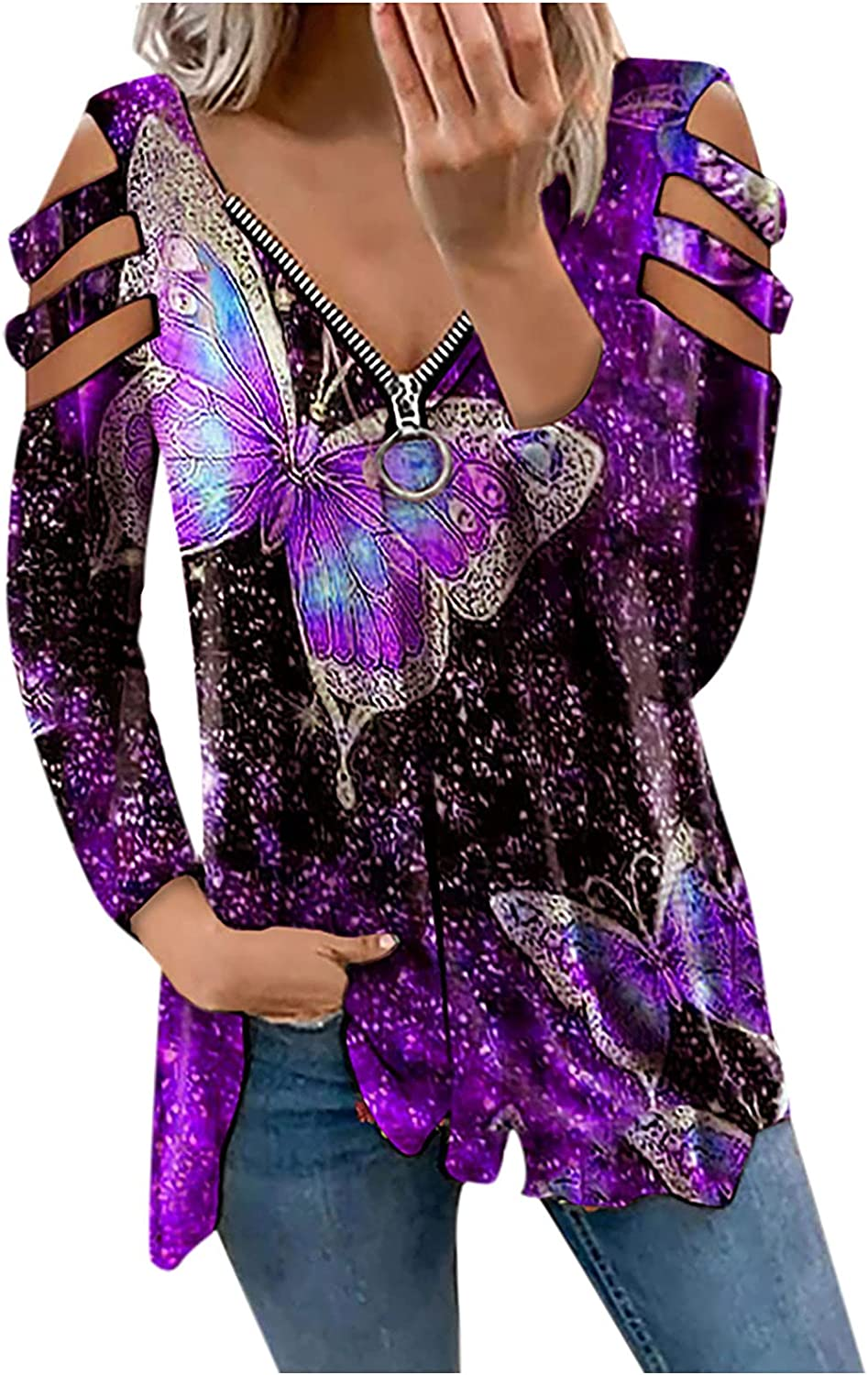 Womens Tops Women's Casual Zipper Ou New color Hollow Long Printing Sleeve Many popular brands