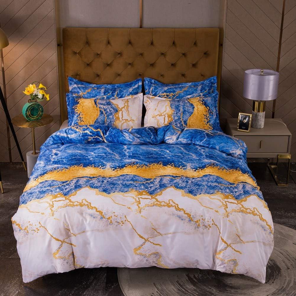Blue Marble Bedding Set 卓出 King Size Abstract 3 Pr Gray Pcs 100%品質保証