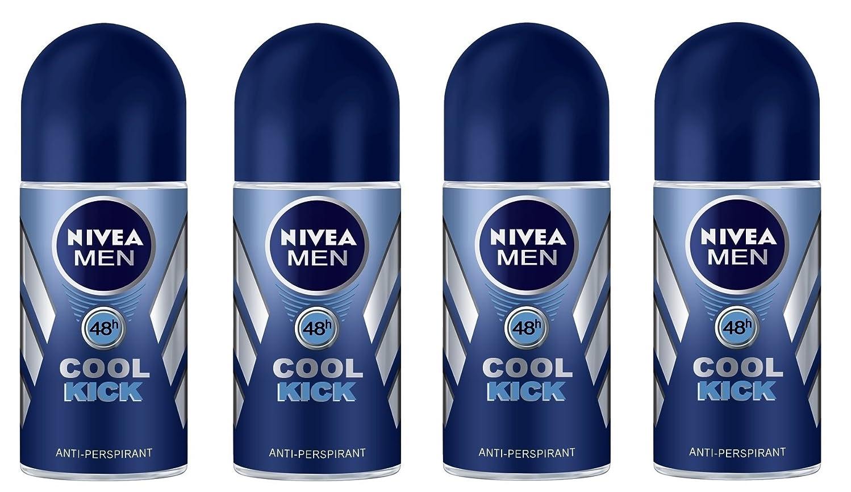 成功日常的に圧縮された(Pack of 4) Nivea Cool Kick Anti-perspirant Deodorant Roll On for Men 4x50ml - (4パック) ニベアクールキック制汗剤デオドラントロールオン男性用4x50ml