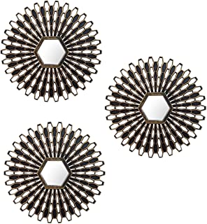 Art Street Set of 3 Decorative Round Gold & Black Wall Mirror for Living Room (10 x 10 Inchs)