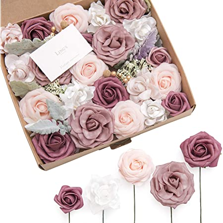 Ling's moment Dainty Dusty Rose Artificial Wedding Flowers Combo for Wedding Bouquets Centerpieces Flower Arrangements Decorations