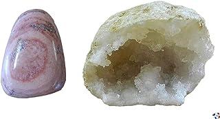 WLM Dolomite en Pierre roulée 5/6 cm et Demi Géode de Cristal de Calcite Mini