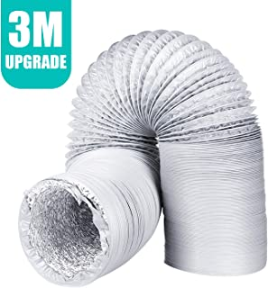 Conducto de ventilación de aluminio universal flexible PVC manguera de ventilación a prueba de humedad conducto de aire para secadora, extractor ventilador, baño y cocina ventilación(3m*125mm)