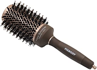 FIXBODY Boar Bristles Round Hair Brush, Nano Thermal Ceramic & Ionic Tech & Anti-Static, Roller Hairbrush for Blow Drying, Curling, Straightening, Add Volume & Shine (3.3 inch, Barrel 2 inch)