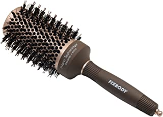 FIXBODY Boar Bristles Round Hair Brush, Nano Thermal Ceramic & Ionic Tech & Anti-Static, Roller Hairbrush for Blow Drying, Curling, Straightening, Add Volume & Shine (3.3