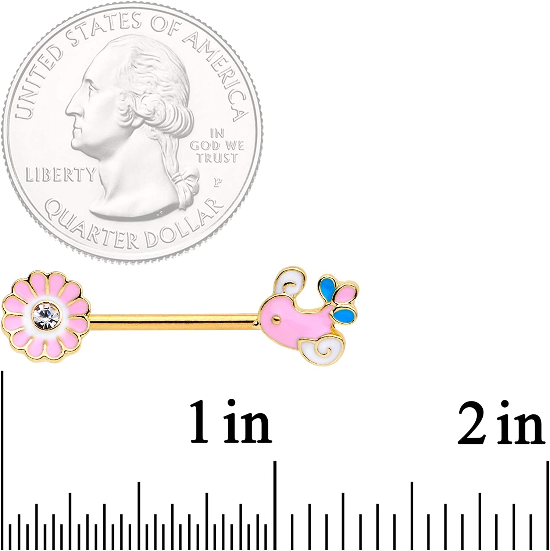 "Body Candy 14G Womens 9/16"" Nipplerings Piercing PVD Steel 2Pc Pink Flower Butterfly Nipple Ring Set 14mm"