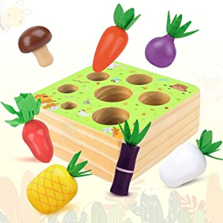 RILLATEK-AE Montessori Wooden Toys for 1-2 Year Old Boys and Girls,Vegetables and Fruits Harvest Shape Size Sorting Puzzle...