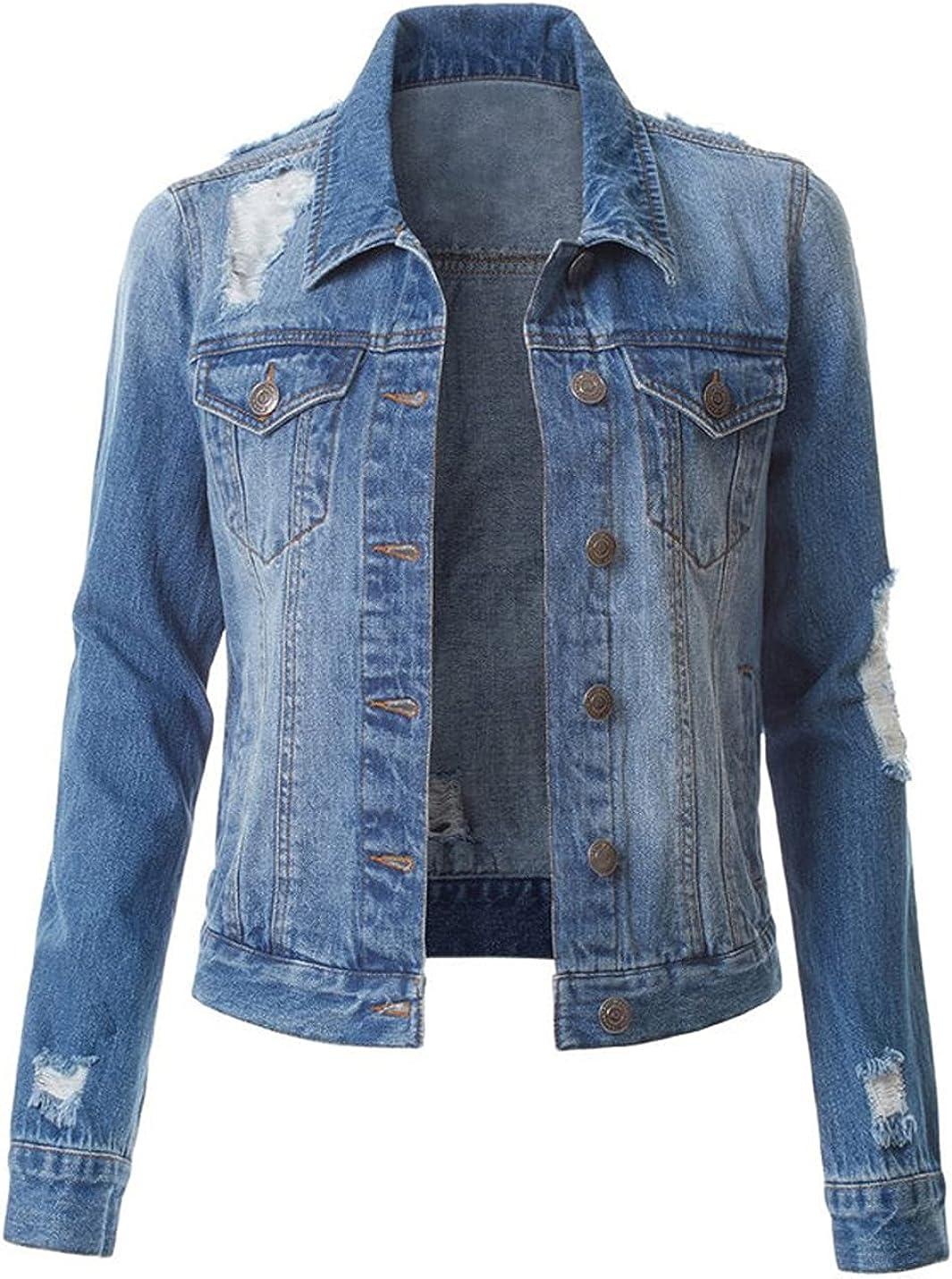 Bankeng Women's Classic Slim Fit Ripped Casual Denim Jacket