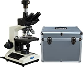 OMAX 40X-2500X Phase Contrast Trinocular LED Compound Microscope+9MP Camera+Aluminum Carrying Case