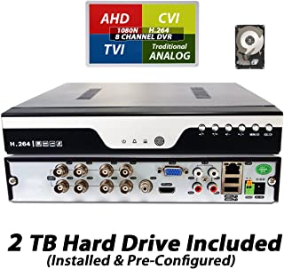 Evertech 8 Channel H.264 DVR HD TVI AHD CVI Analog Standalone CCTV Home Office Security Surveillance Recorder with 2TB HDD