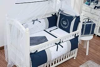 Crown Royal Theme Gray/Navy Baby Boy/Girl 08 pcs Embroidered Nursery Crib Bedding Set Bumpers + Sheet Set + Changing Pad
