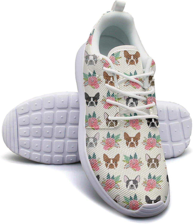Eoyles gy Boston Terrier Vintage Flowers Attractive Women Slip Resistant Lightweight Running Sports shoes
