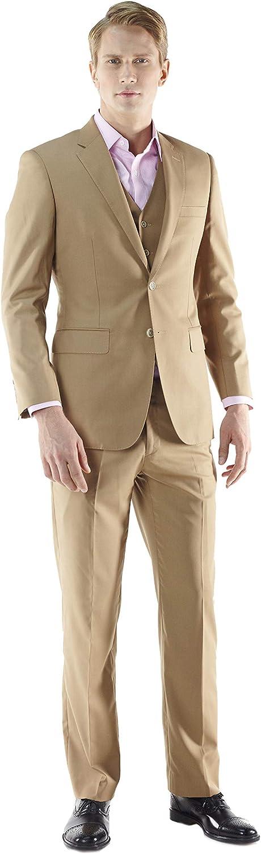 Beige Luxury 120s Wool Bespoke Three-Piece Men's Summer Suit by MyCustomTailor