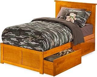 Atlantic Furniture Nantucket Platform Bed with 2 Urban Bed Drawers, Twin XL, Caramel