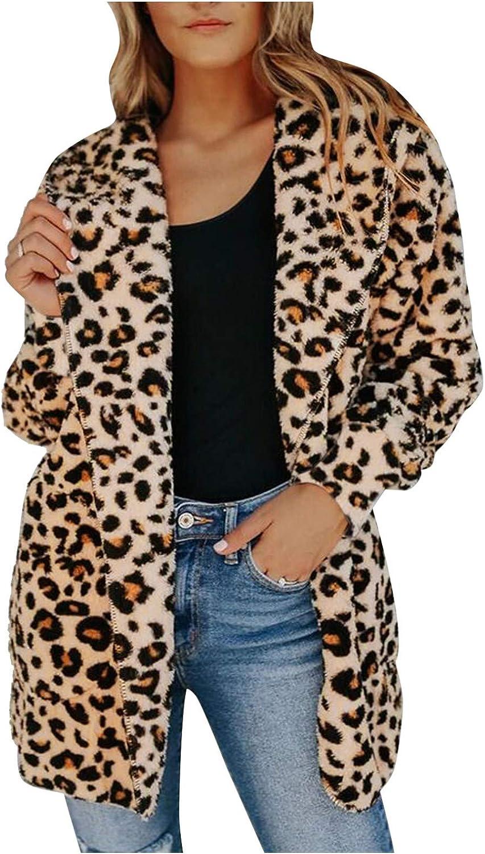 Changeshopping Women Warm Chinchilla Coat, Casual Leopard Print Fur Jacket, Plus Size Winter Faux Fur Overwear