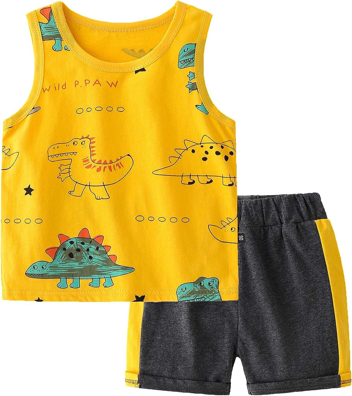 Rixin Baby Boys Dinosaur Shorts Set Sleeveless Tank Tops+ Shorts Summer Sports Casual Clothes Suit