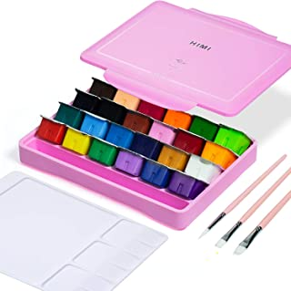 HIMI Gouache Paint Set, 24 Colors x 30ml Unique Jelly Cup Design with 3 Paint Brushes and a Palette in a Carrying Case Per...