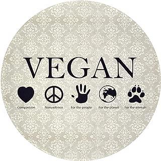YING Vegan Vegetarian Comfortable Entrance Round Area Mat Doormat Non-Slip Backing Bedroom Floor Carpet Bathroom Kitchen Rug Soft Pet Pad Home Decor