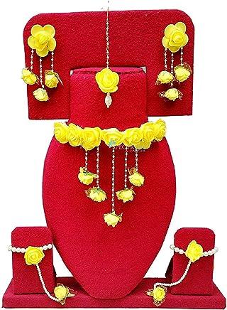 Apara Yellow Floral Gota Patti Mehandi/Haldi Necklace, Earrings, Bracelet & Maang Tika for Women & Girls