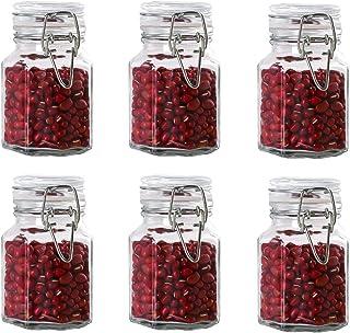 Annfly Lot de 6 bocaux hermétiques en verre avec couvercle à clip Transparent 120 ml