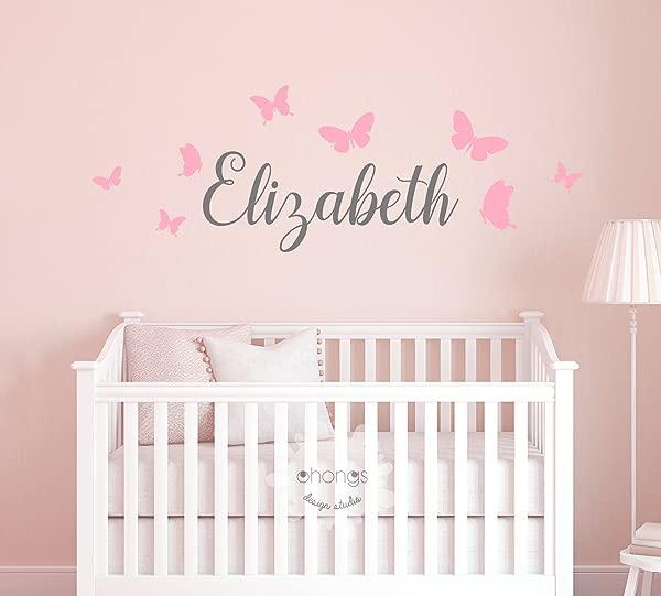 儿童姓名墙贴花儿童房幼儿园贴花定制名字贴纸个性墙贴花婴儿名字贴花蝴蝶名字