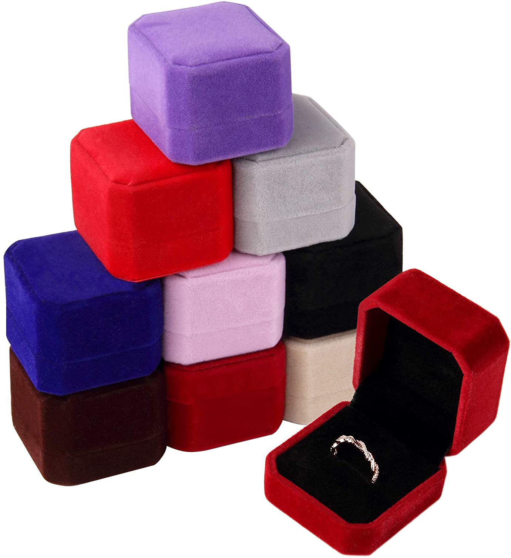 Lamoutor 9Pcs Velvet half Ring Box Jewelry Earring Gift free Assor