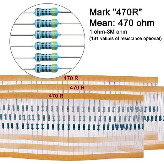 0.5Watt /±1/% Tolerance Metal Film Fixed Resistor EDGELEC 100pcs 1.8 ohm Resistor 1//2w 131 Values of Resistance Optional