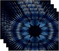 E by design PT4GN763BL14 Shibori Burst, Geometric Print Placemat (Set of 4)