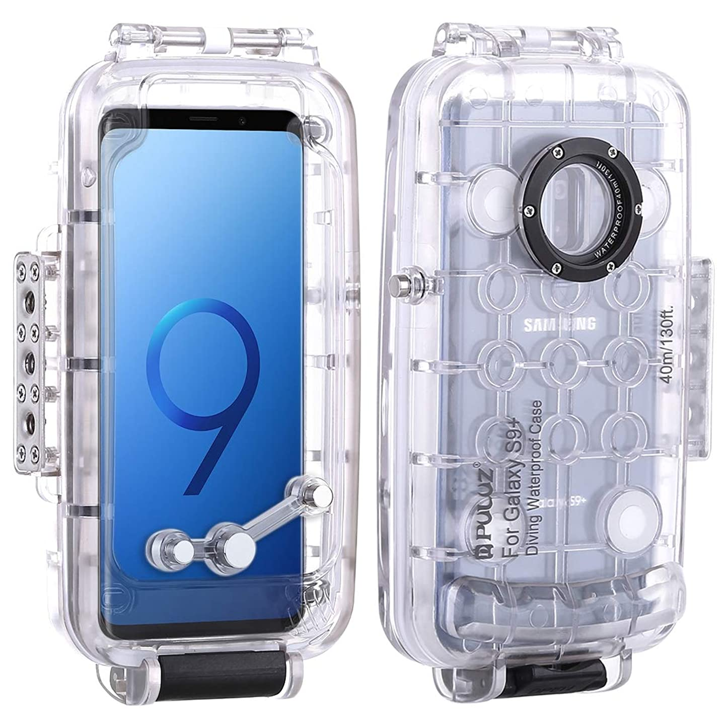 for Samsung Galaxy S9+ 40m/130ft Professional Underwater Phone Diving Case, Waterproof Diving Housing Photo Video Taking Underwater Cover Case for Diving Surfing (Transparent, for Samsung Galaxy S9+) kkztmtgbnfz3