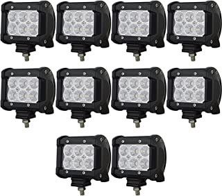 Sponsored Ad - AUXTINGS 10 Piece 4 inch 18W Flood LED Work Light Bar Driving Lamp 12V 24V 1440LM 6000K for Jeep Off Road C...