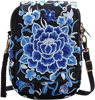 Jiyaru Women Embroidered Purse Cellphone Wallet Crossbody Bag Mini Shoulder Bag