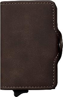KOONi Credit Card Holder RFID Blocking Money Clip Wallet Pop Up Slim Card Case Smart Minimalist Wallet (Brown)