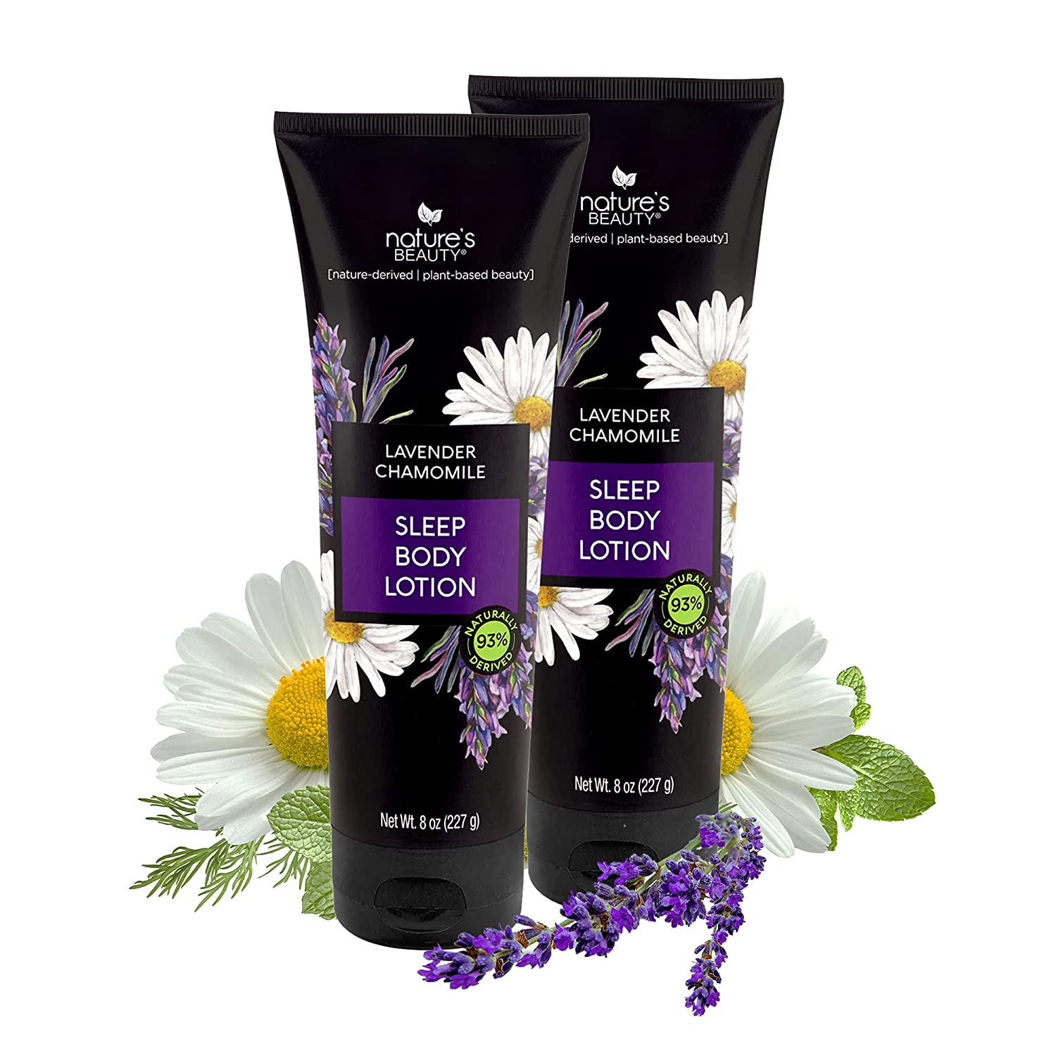 Nature's Beauty Lavender Chamomile Sleep Body Lotion | Sleep Well with Lavender Moisturizer Made with Shea Butter, Jojoba, Coconut + Moringa Seed Oils - 2-pack