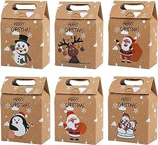 CCINEE 24 PCS Christmas Kraft Paper Bags, Kraft Cookies and Candy Bags Santa Claus Reindeer Xmas Folding Kraft Bags for Ki...