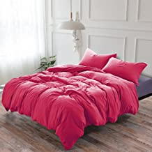 3-Piece Duvet Cover Twin, 100% Washed Cotton Duvet Cover, Ultra-Soft Luxury & Natural Wrinkled Look, Bedding Set (Queen, Rose Red)