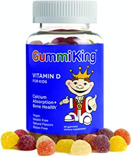 Gummi King Vitamin-D Supplement, Strawberry/Lemon/Orange/Grape/Cherry/Grapefruit, 60 Count