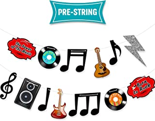 Music Note Decorations Banner 1950's Rock and Roll Party Decorations Musical Notes Silhouettes Bunting 50s Theme Party Music Wall Decor Cardboard Cutouts Electric Record Cutout