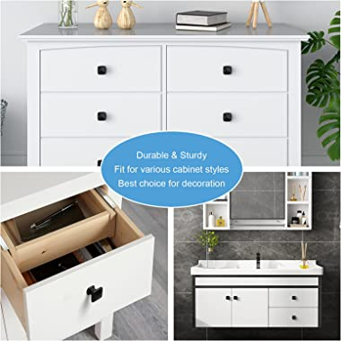 WEAVERBIRD 4 Pieces Square Kitchen Cabinet Knobs, Black Drawer Knobs for Kitchen Cupboard Door, Bedroom Dresser Drawer, Bathr