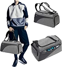 TAIBID 3-Way 18 Inch Sports Gym Bag Backpack with Wet Pocket and Shoe Compartment Travel Duffel Bag for Men and Women, Grey