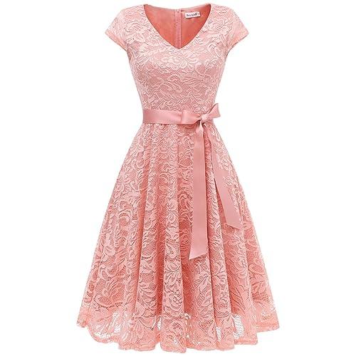 be7e8464b5 BeryLove Women s Floral Lace Short Bridesmaid Dress Cap Sleeve Cocktail  Party Dress